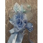Light Blue Rose Organza Flower with Three Pearls