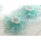 12 Light Blue Organza Glittered Flowers with Pearls Appliqué Sow