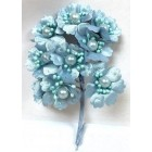 Satin Flowers with Pearls on Stem Light Blue