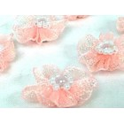 12 Pink Organza Glittered Flowers with Pearls