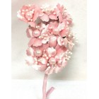 Satin Flowers with Pearls on Stem Pink