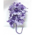 Satin Flowers with Pearls on Stem Purple