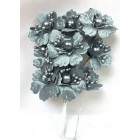 Satin Flowers with Pearls on Stem Silver