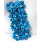 Satin Flowers with Clear Pearls on Stem Turquoise