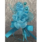 Turquoise Rose Organza Flower with Three Pearls
