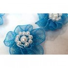 Satin Turquoise Pearl Craft Flower