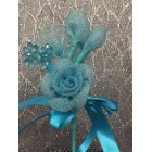 Turquoise Organza Flower with Acrylic Flowers