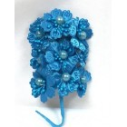 Satin Flowers with Pearls on Stem Turquoise