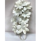 Satin Flowers with Clear Pearls on Stem White