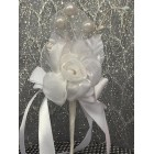 White Rose Organza Flower with Three Pearls