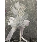 White Organza Flower with Acrylic Flower Stems Wedding, Sweet 16 Craft Supplies
