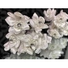 Bunches of White Organza with Rhinestone Flowers Craft Favors Party Supplies