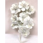 Satin Flowers with Pearls on Stem White