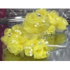 2 Organza Yellow with Pearl Flower Bunches 6 Flowers Per Bunch 12 Flowers Weddings Sweet 16 or Bridal Shower