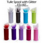 Tulle Spool with Glitter Roll Multi-Purpose Craft Project for Wedding Sweet 16 Baby Shower
