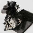 Black Organza Bag with Drawstring Ribbon and Flower Applique