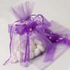 Lavender Organza Bag with Drawstring Ribbon and Flower Applique