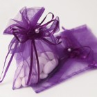 Purple Organza Bag with Drawstring Ribbon and Flower Applique