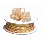 50 Yards of Gold Metallic Pull Ribbon and 6 Bunches of Poly Roses