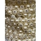 White Pearl Beads with Rhinestone Craft Trimming for Favors Cake Tops Centerpiece Scrap Booking 10 Yards