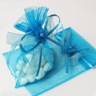Turquoise Organza Bag With Drawstring Ribbon And Flower  Applique (Pack of 3)