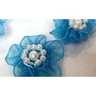 12 Organza Craft Flower for Wedding Sweet 16 or All Purpose Crafts Turquoise Appliqué Sow