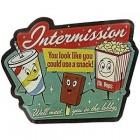 Intermission Embossed Die Cut Tin Sign Media Room Movie Theater Decoration
