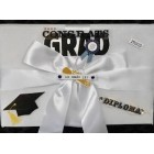 Graduation White and Black Guest Book with Pen Grammar High School College Keepsake Gift