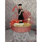 Graduation Girl Red & Gold Cake Topper or Centerpiece Gift