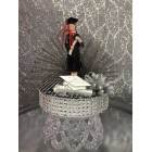 Graduation Girl Black & Silver Cake Topper or Centerpiece Gift