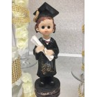 Graduation Girl with Diploma Cake Top Figurine