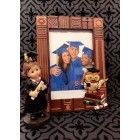 Graduation Owl Themed Photo Frame Gift with Graduation Girl or Boy Figurine