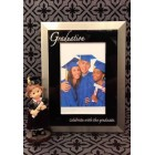 Graduation Photo Frame with Graduation Girl or Boy Figurine Silver and Black Keepsake Gift