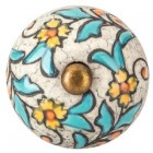 Glazed Floral Crackle Knob Hardware Pull Decoration For Door Draws and Drawers