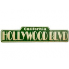 Green Hollywood Blvd Embossed Metal Sign Decoration