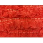 "Red Pleated Organza Craft Lace 1 1/2"" W"