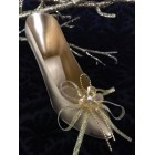 12 Plastic Gold or Silver Fillable Shoe Favors with Shoe Decoration for Birthday Bridal Shower Sweet 16 Mis Quince Anos