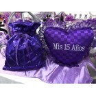 Purple Satin Money Bag and Tiara Shoe Pillow Mis Quince Anos Bolsa