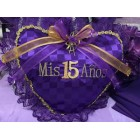 Mis Quince Anos Purple & Gold 15 Heart Shaped Tiara Pillow