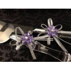 Cake Knife & Server Set with Acrylic Flower and Ribbon Wedding Sweet 16 Anniversary All Occasion