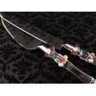 Wedding Cake Knife Server Set Red and White Flower and Pearl Design All Occasion