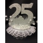 25th Anniversary Birthday Party Cake Topper Centerpiece Handcrafted Decoration