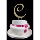 Gold Letter C Rhinestone Cake Topper Decoration