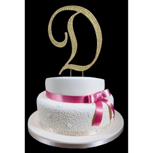 gold letter d rhinestone cake topper decoration