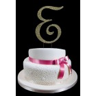 Gold Letter E Rhinestone Cake Topper Decoration