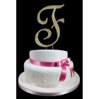 Gold Letter F Rhinestone Cake Topper Decoration