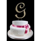 Gold Letter G Rhinestone Cake Topper Decoration