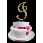 Gold Letter I Rhinestone Cake Topper Decoration