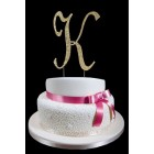 Gold Letter K Rhinestone Cake Topper Decoration