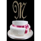 Gold Letter M Rhinestone Cake Topper Decoration